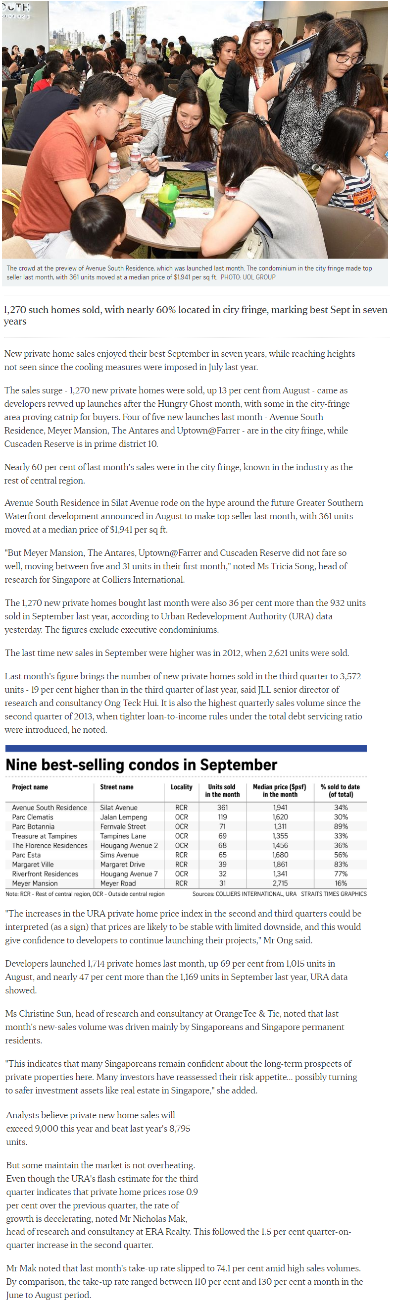 Klimt Cairnhill - New private Home Sales Hit A Hight In September
