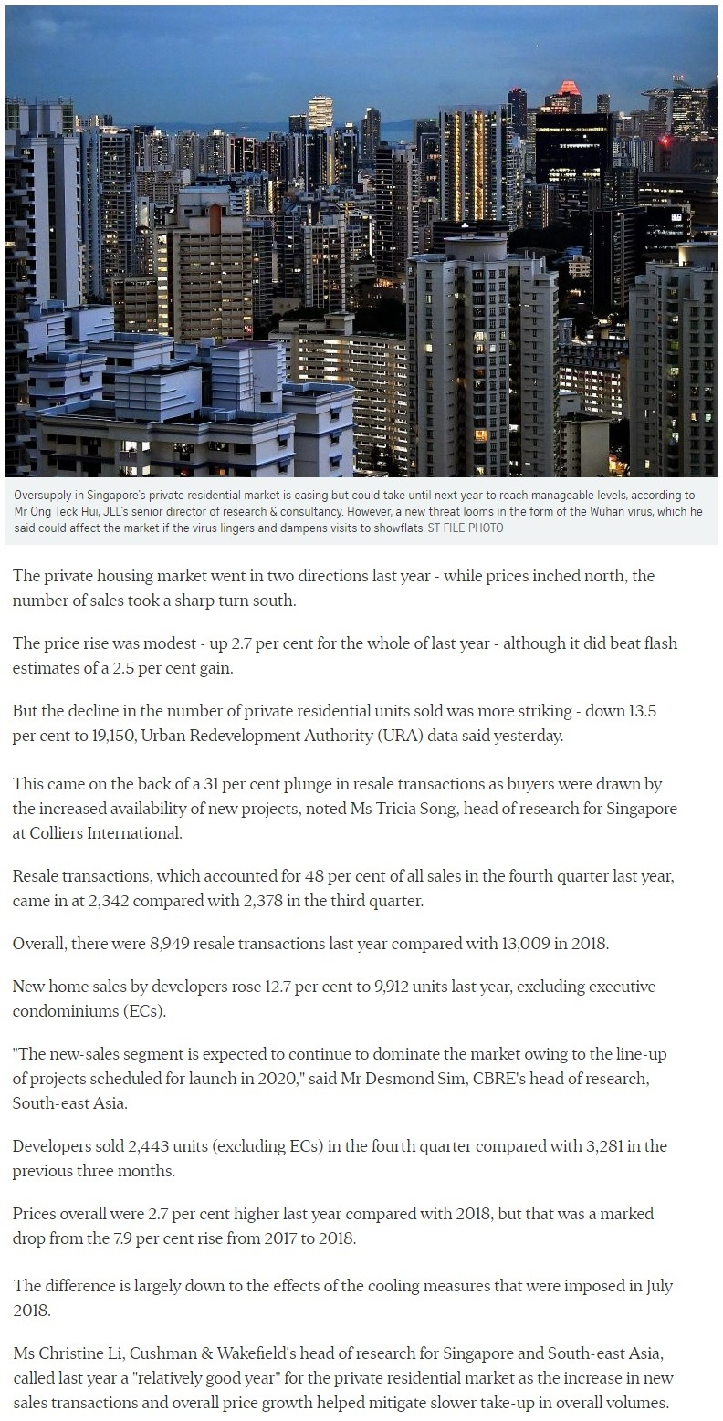 Klimt Cairnhill - Singapore private home prices inch up 2.7% for 2019 Part 1
