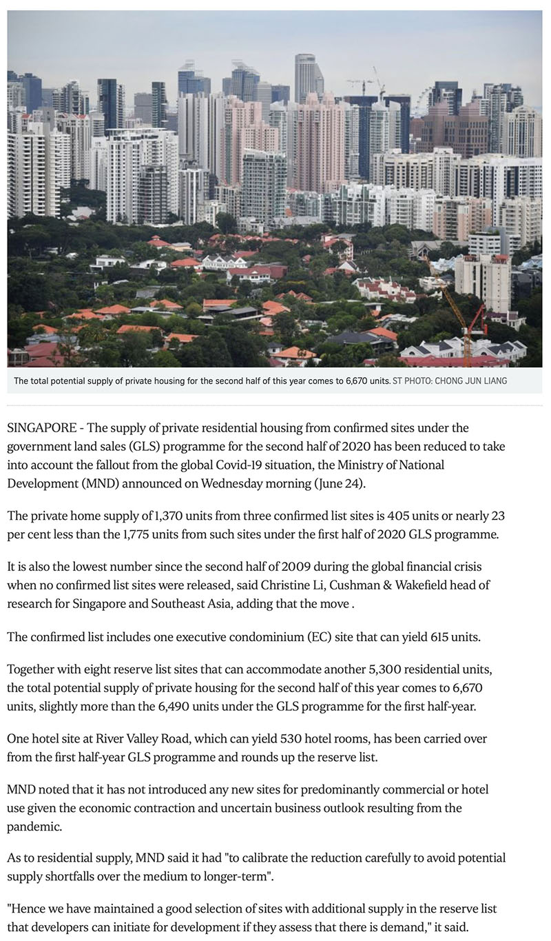 Klimt Cairnhill - Govt cuts private housing supply from confirmed land sale sites due to Covid-19 fallout -1
