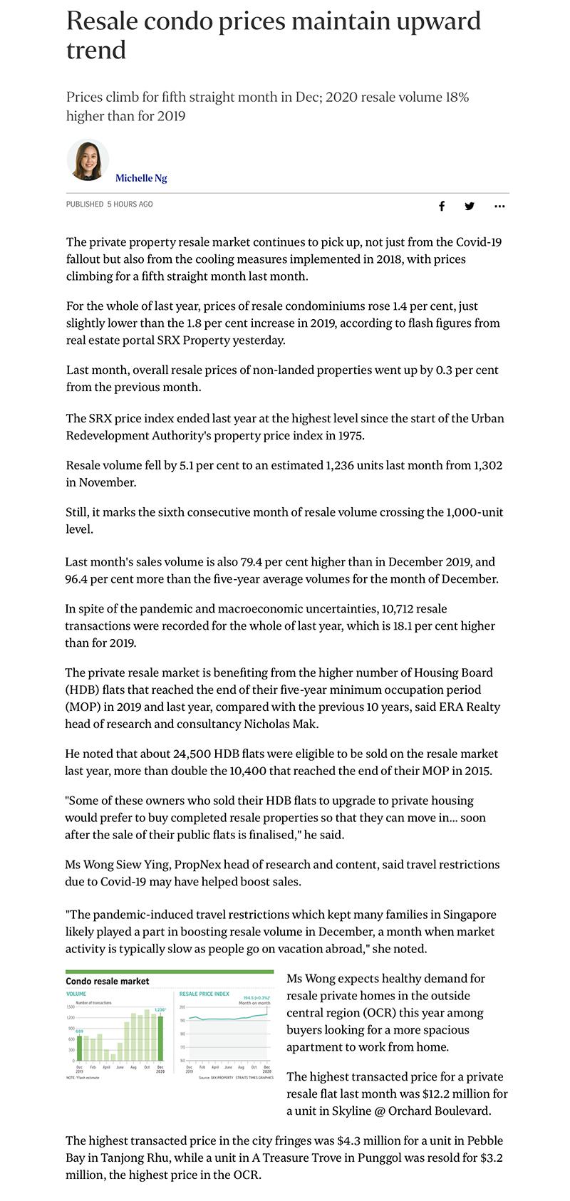 Klimt Cairnhill - Resale condo prices maintain upward trend